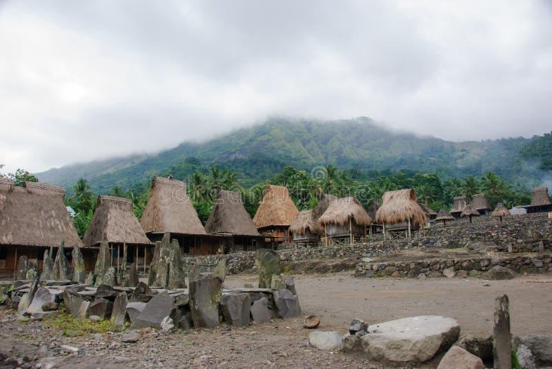 Villaggio tradizionale Bena sull'isola del Flores fotografia stock libera da diritti