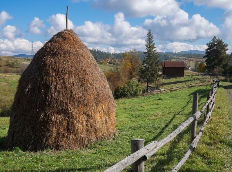 Villaggio ucraino in montagne carpatiche immagine stock libera da diritti