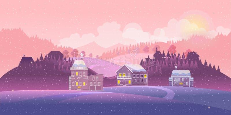 Villaggio urbano della città del paesaggio della campagna della neve di inverno con la luna piena, il buon anno ed il Buon Natale royalty illustrazione gratis