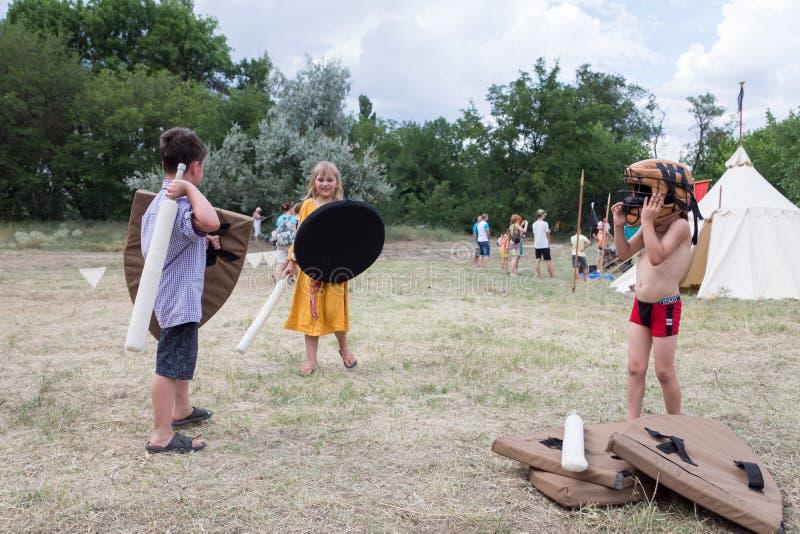 Villaggio Vesele, Nova Kakhovka, Ucraina, il 9 luglio 2018, fotografia stock libera da diritti