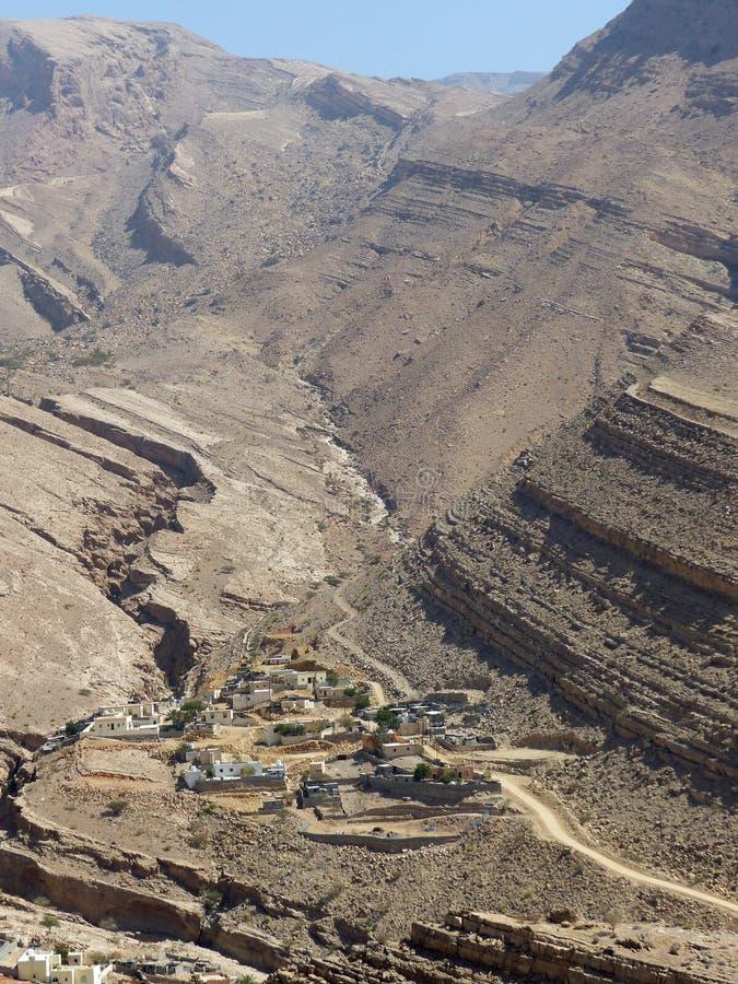 Villaggio vicino a Wadi Bani Khalid fotografie stock libere da diritti