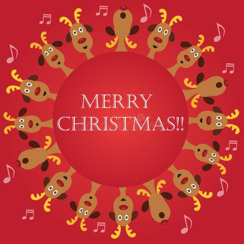 Villancicos de la Navidad por la frontera de los renos stock de ilustración
