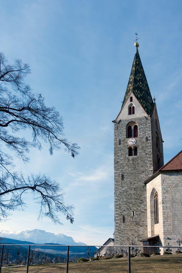 VILLANDERS, SOUTH TYROL/ITALY - MARCH 27 : Belfry of the Parish stock photo