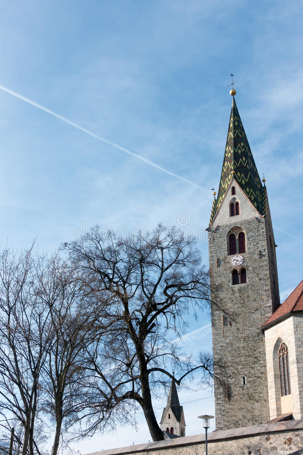 VILLANDERS, SOUTH TYROL/ITALY - MARCH 27 : Belfry of the Parish royalty free stock images