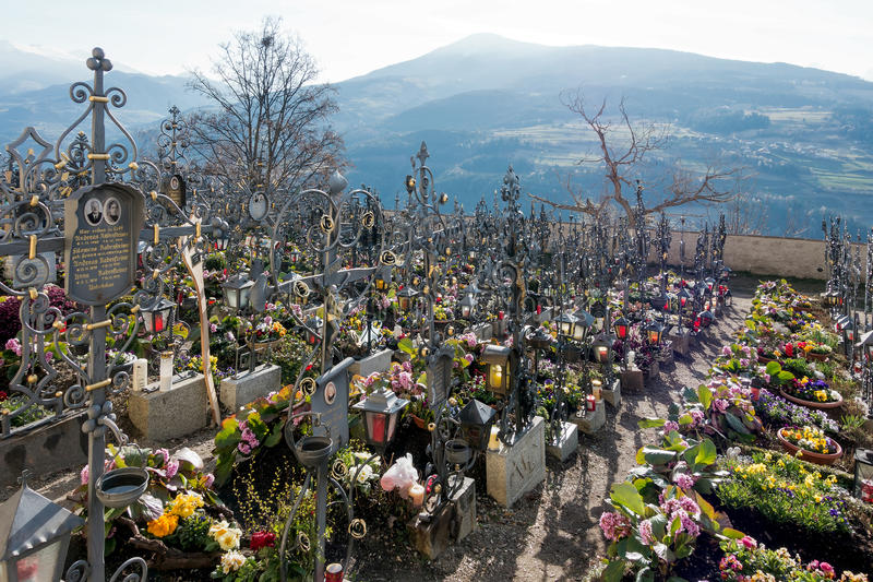 VILLANDERS, SOUTH TYROL/ITALY - MARCH 27 : Cemetery of the Paris stock image