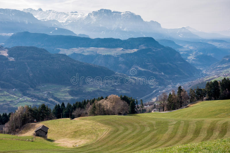 VILLANDERS, SOUTH TYROL/ITALY - MARCH 27 : View towards the Dolomites from above Villanders South Tyrol in Italy on March 27, 2016 stock photography