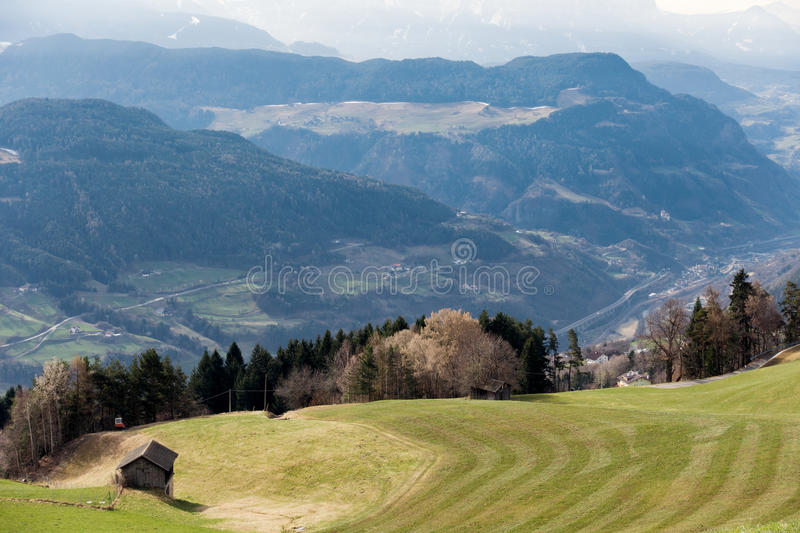 VILLANDERS, SOUTH TYROL/ITALY - MARCH 27 : View towards the Dolomites from above Villanders South Tyrol in Italy on March 27, 2016 stock image