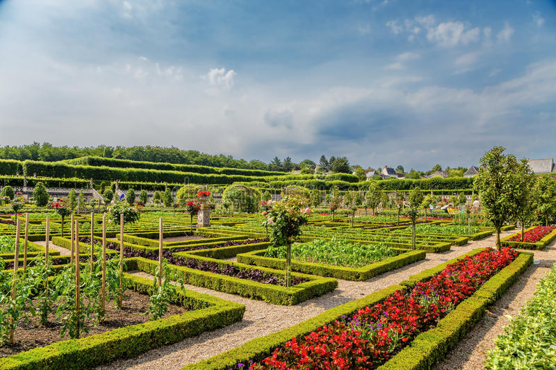Villandry Castle, France. View of ornamental garden stock photos