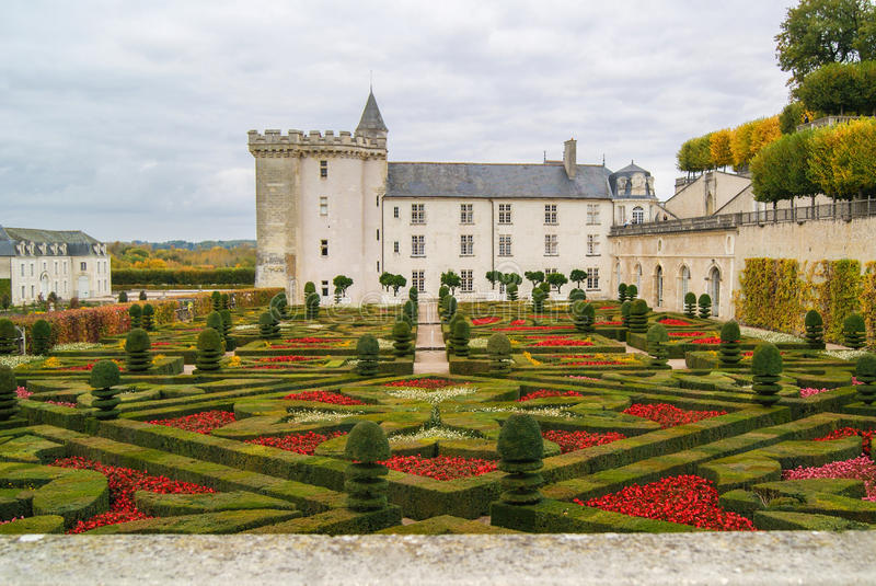 Villandry Castle with garden, France royalty free stock image