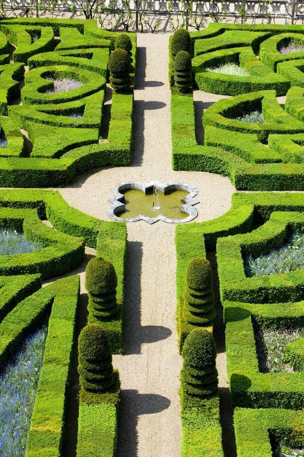 Villandry Castle& x27; s tuin, Indre-et-Loire, Centrum, Frankrijk royalty-vrije stock foto