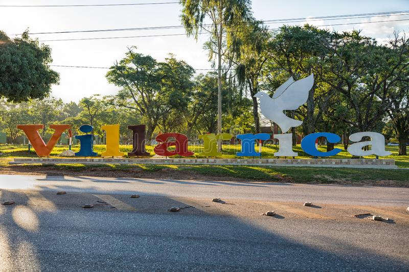 Large `Villarrica` lettering. Villarrica is a city in the center of Paraguay. Villarrica lettering. Villarrica is a city in the center of Paraguay stock photos