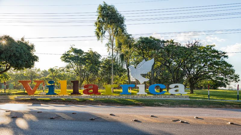 Large `Villarrica` lettering. Villarrica is a city in the center of Paraguay. Villarrica lettering. Villarrica is a city in the center of Paraguay stock image
