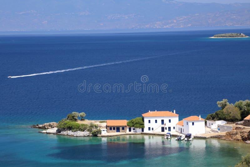Villas blanches Pelion du sud Grèce photos stock