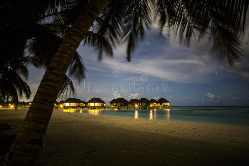 Download Villas With Night Sky, Maldives Stock Image - Image: 75986099