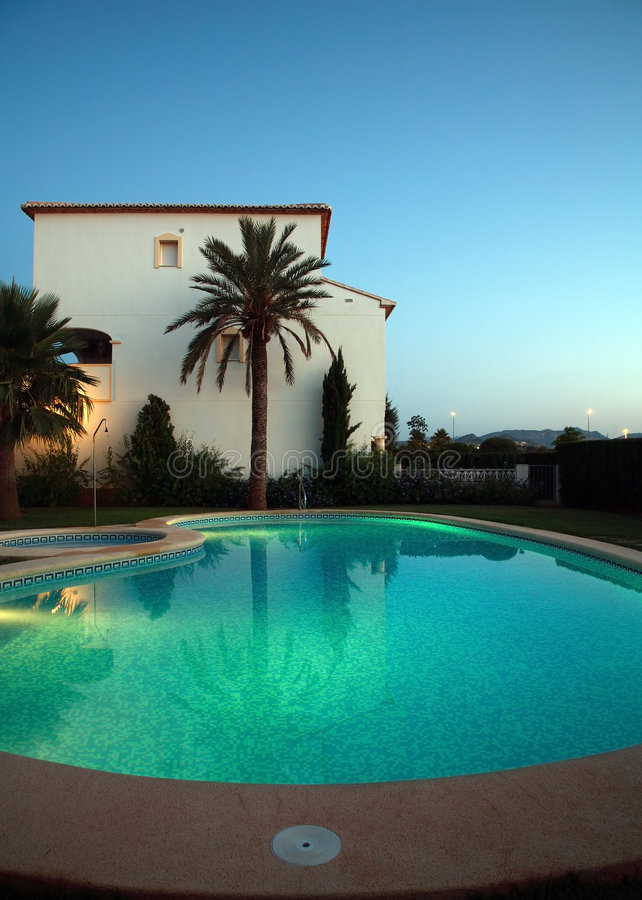 Villas with swimming pool stock image
