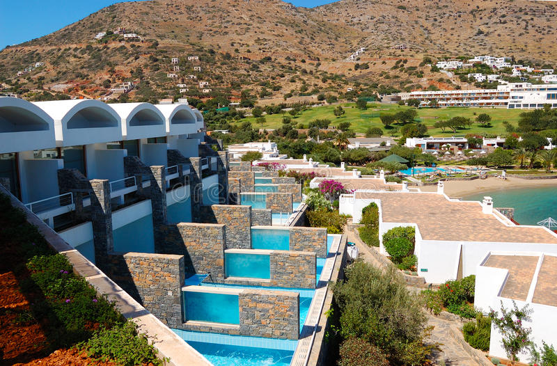 Villas with swimming pools of luxury hotel stock photos