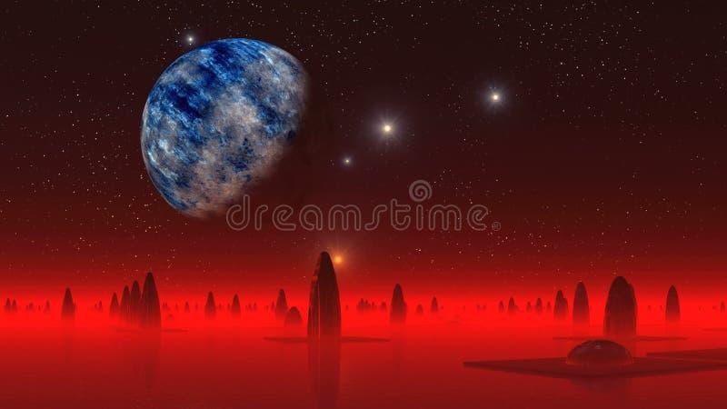 Ville étrangère et la grande lune illustration libre de droits