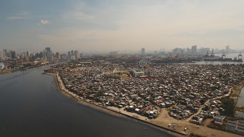 Ville aérienne avec des gratte-ciel et des bâtiments Philippines, Manille, Makati photos libres de droits