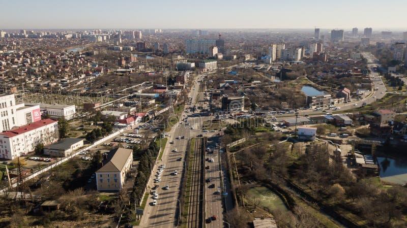 Ville aérienne Krasnodar en février 2019 photos stock