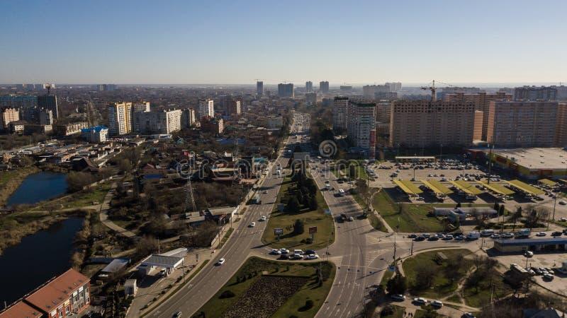 Ville aérienne Krasnodar en février 2019 images stock