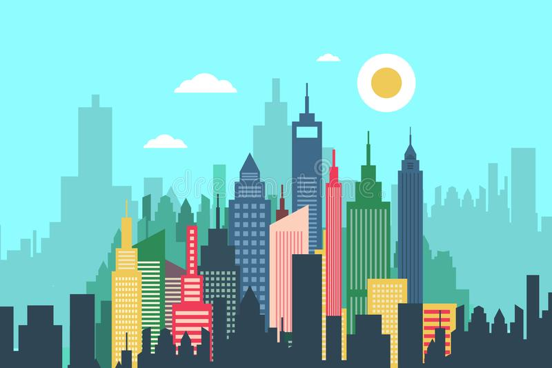 Ville abstraite de vecteur avec de hauts bâtiments illustration libre de droits