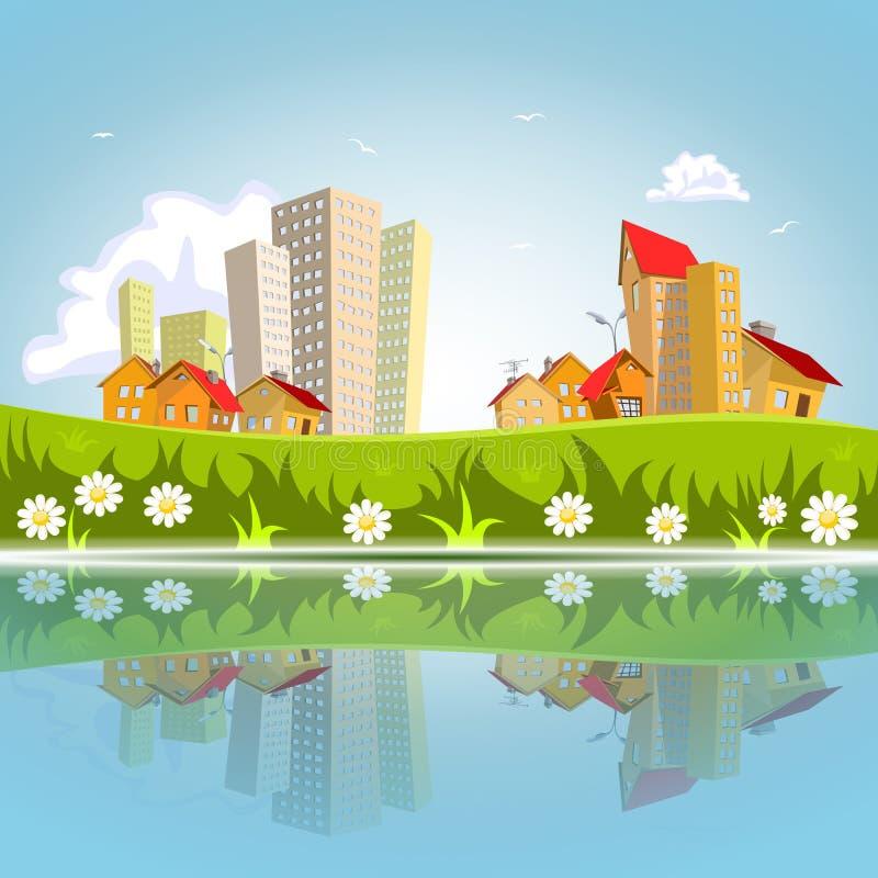 Ville abstraite de vecteur réfléchie sur l'eau illustration stock