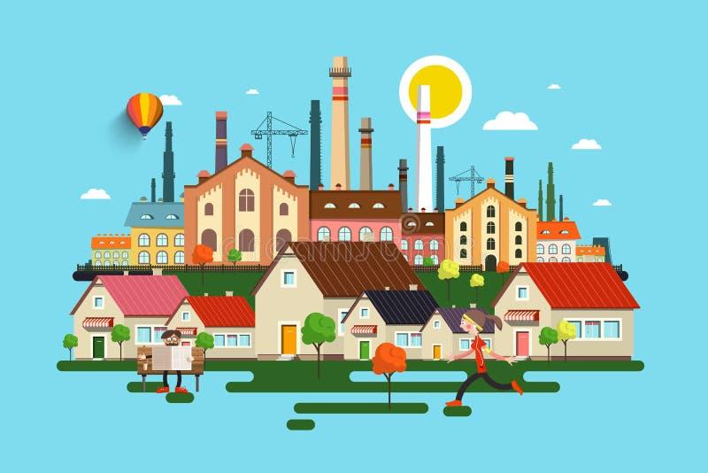 Ville abstraite de vecteur Ville avec des bâtiments illustration libre de droits