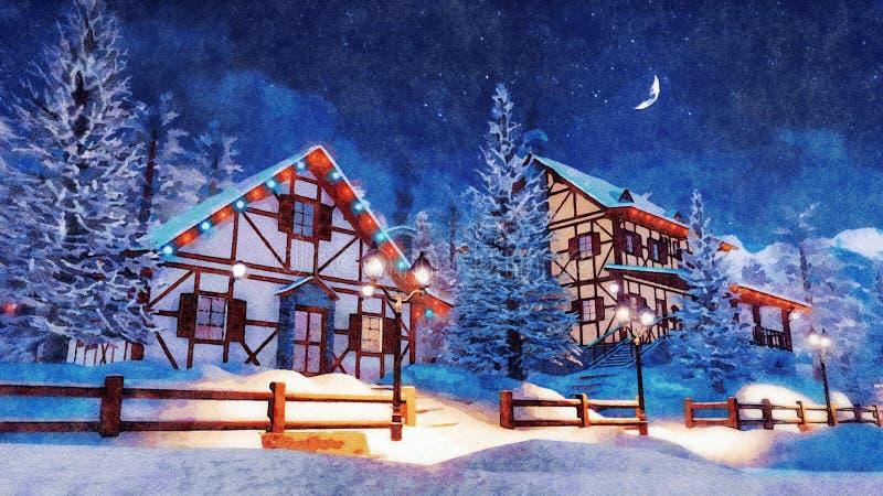 Ville alpine bloquée par la neige à l'aquarelle de nuit d'hiver illustration de vecteur