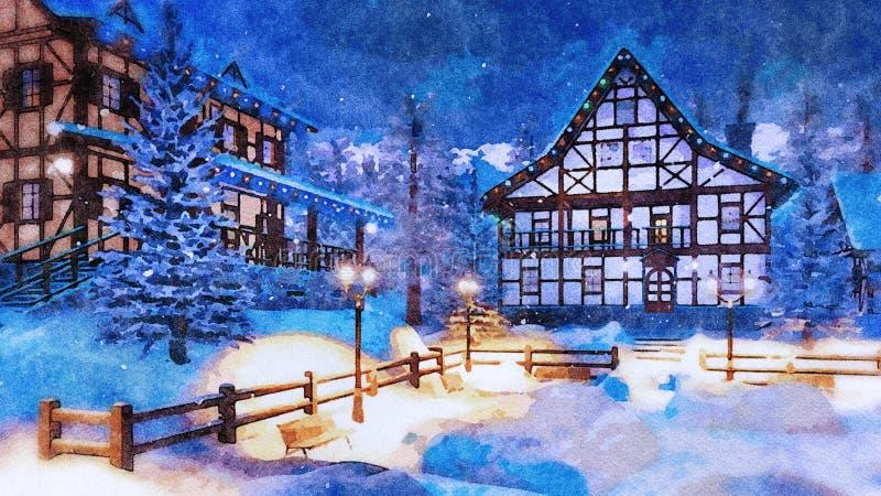 Ville alpine de montagne la nuit hiver dans l'aquarelle photographie stock libre de droits