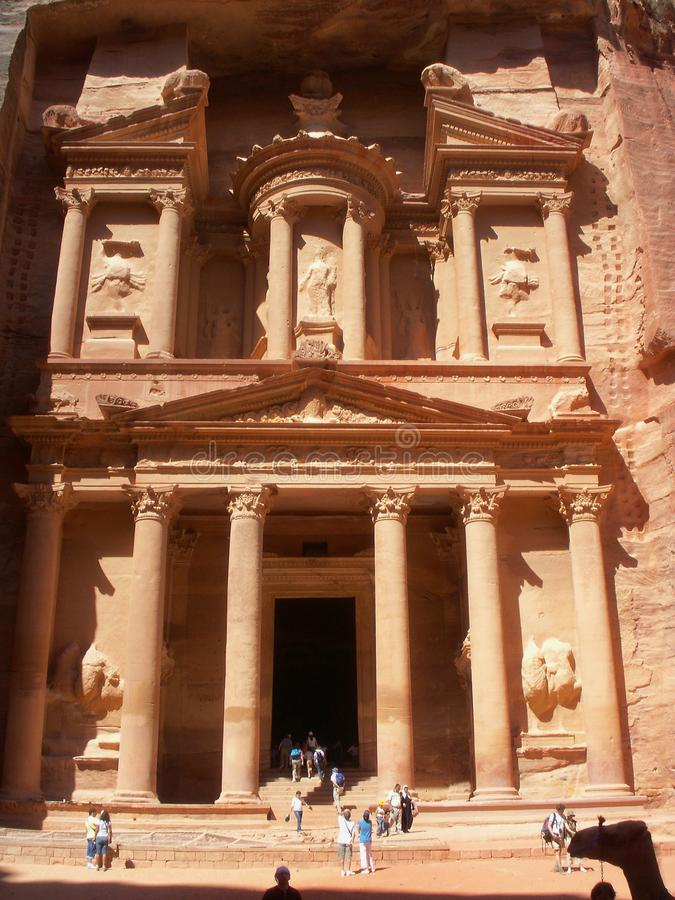 Ville antique d'Al Khazneh de PETRA en Jordanie photo stock