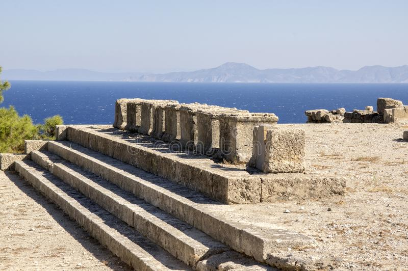 Ville antique de Kameiros, Rhodes, Dodecanese, Grèce photo stock