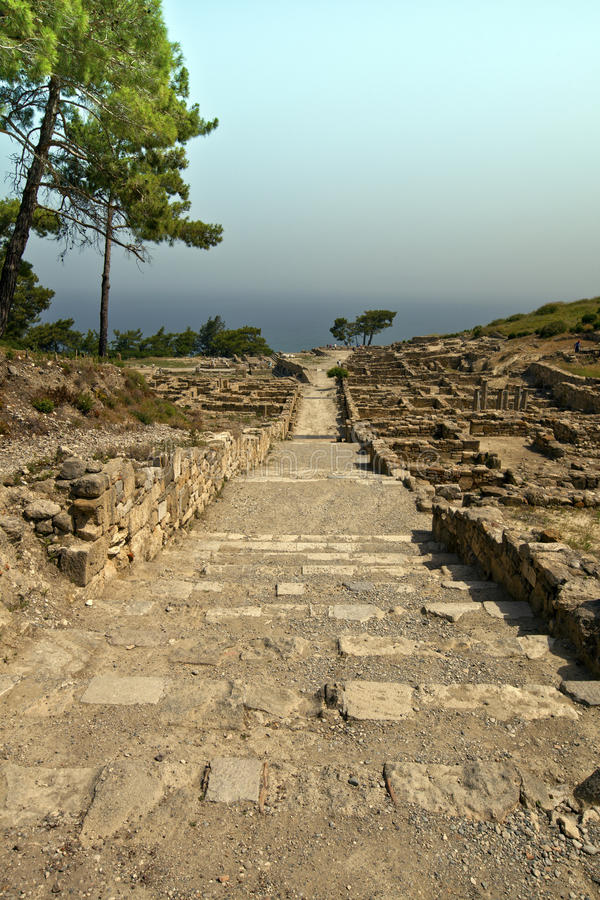 Ville antique de Kamiros Ontario il île de Rhodes. photos libres de droits