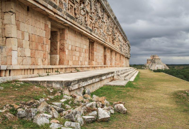 Ville antique de Maya d'Uxmal, Yucatan, Meco image libre de droits
