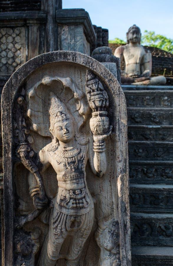 Ville antique de Polonnaruwa, photo du Vatadage et x28 ; Relique circulaire House& x29 ; dans Polonnaruwa photo libre de droits