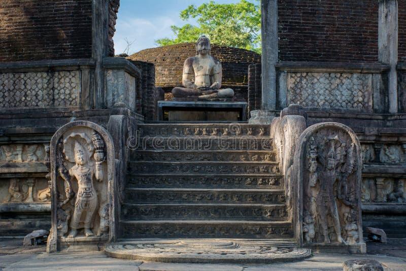 Ville antique de Polonnaruwa, photo du Vatadage et x28 ; Relique circulaire House& x29 ; dans Polonnaruwa photos stock