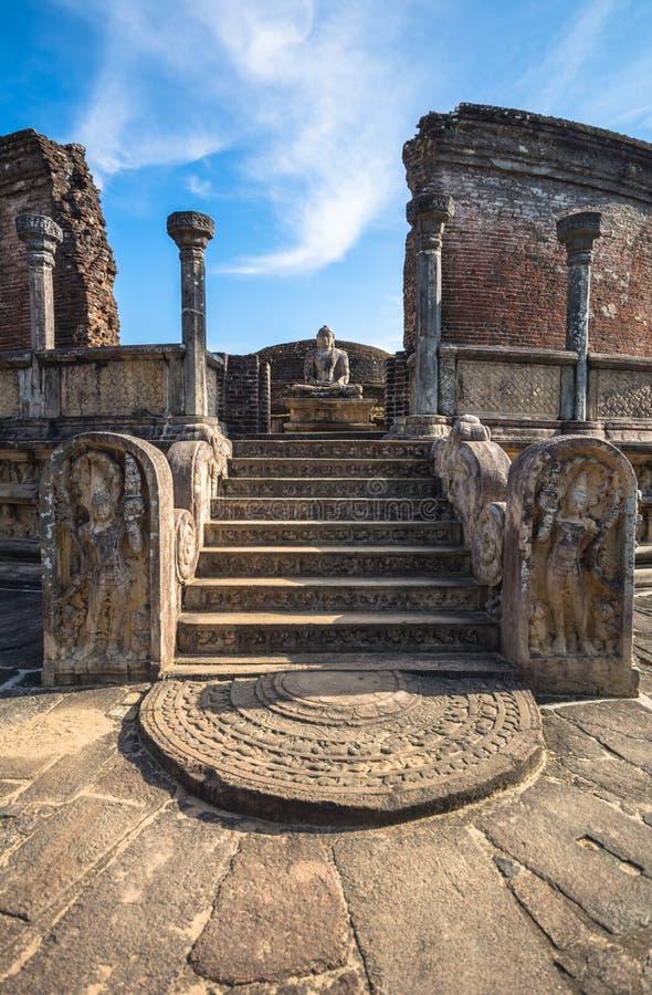 Ville antique de Polonnaruwa, photo du Vatadage et x28 ; Relique circulaire House& x29 ; dans Polonnaruwa image libre de droits