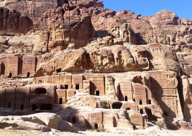 Ville antique et mystérieuse de caverne, PETRA, Jordanie photos libres de droits