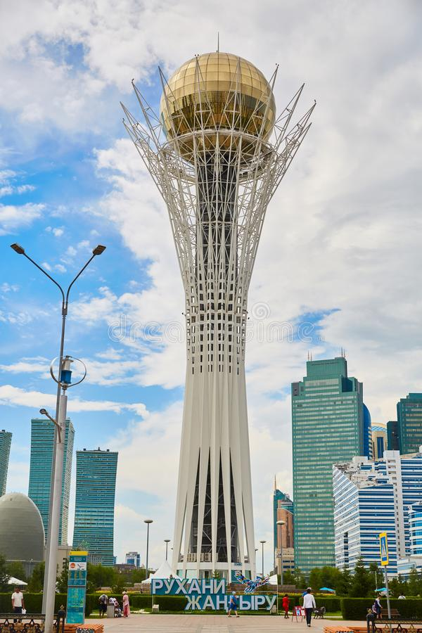 Ville Astana, Kazakhstan - Baiterek, tour, plate-forme de visionnement images stock