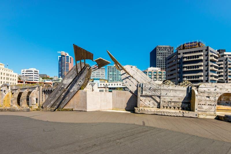 Ville au pont de mer, Wellington, Nouvelle-Zélande images libres de droits