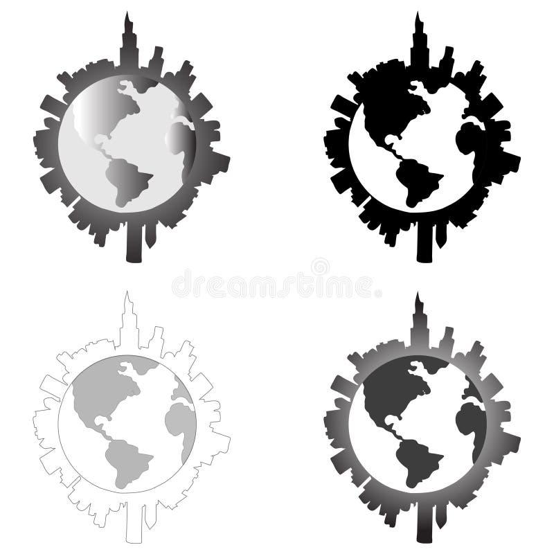 Ville autour de la terre image libre de droits