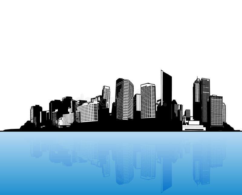 Ville avec de l'eau bleu. illustration stock