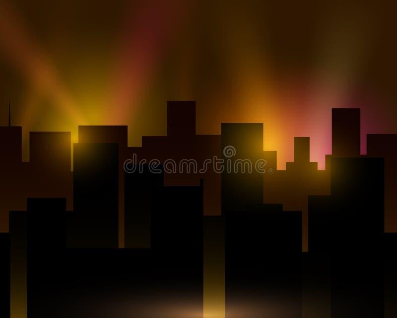 Ville avec des gratte-ciel et des projecteurs Lumière dans la ville, ville de nuit illustration de vecteur