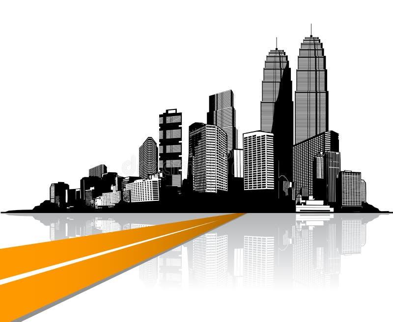 Ville avec des gratte-ciel reflétés dans l'eau illustration de vecteur