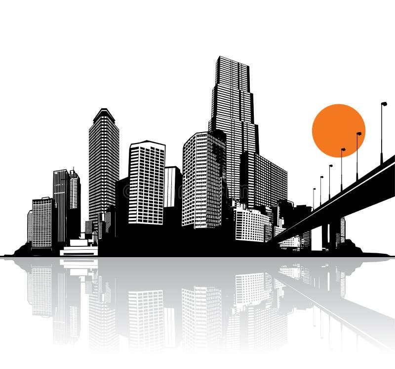 Ville avec des gratte-ciel reflétés dans l'eau illustration stock