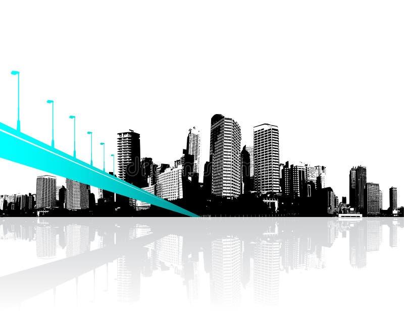 Ville avec des gratte-ciel reflétés dans l'eau illustration libre de droits