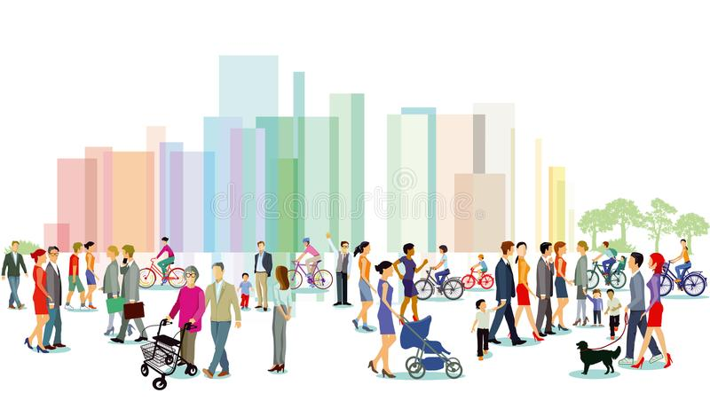 Ville avec des piétons et des cyclistes illustration stock