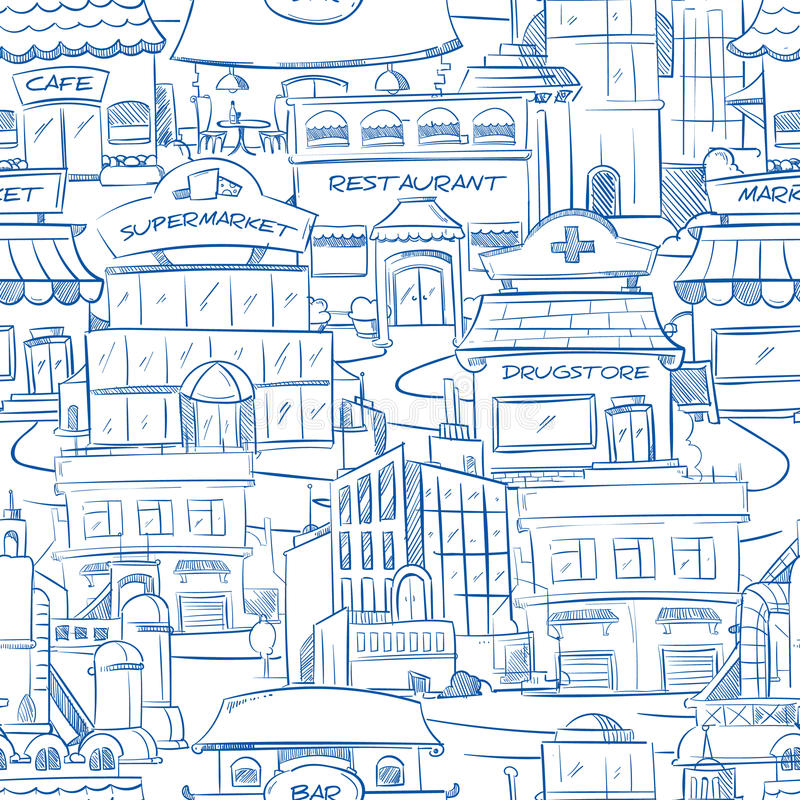 Ville avec le fond sans couture de bâtiments de vecteur de panorama urbain tiré par la main de griffonnage illustration stock