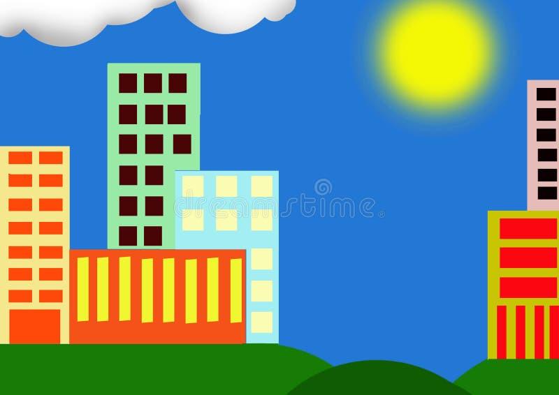 Ville avec le soleil image stock
