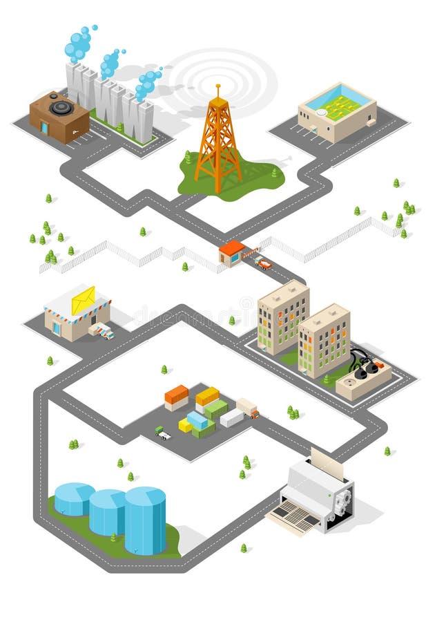Ville. Bâtiments isométriques. Vecteur. illustration de vecteur