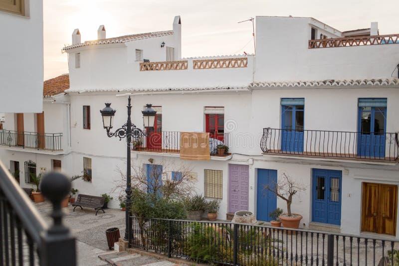 Ville blanche de Blanco de pueblo de Frigiliana photo stock